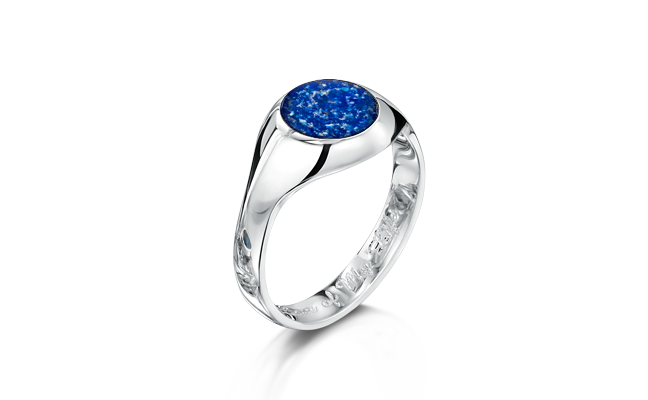 Signet Ring White Gold Blue